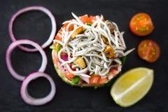 Légumes et tartre d'anguille ou d'anguilles de bébé Image libre de droits