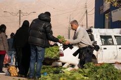 Légumes et vendeur irakiens de feuilles Images libres de droits