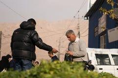Légumes et vendeur irakiens de feuilles Image stock