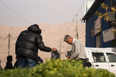 Légumes et vendeur irakiens de feuilles Photo libre de droits