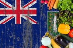 L?gumes frais d'?les Vierges britanniques sur la table Cuisson du concept sur le fond en bois de drapeau image stock