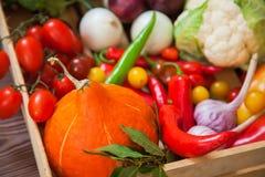 Légumes frais d'automne dans la vue supérieure d'aliment biologique de boîte en bois Photographie stock