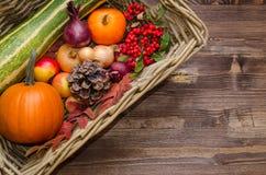 Légumes frais d'automne dans un panier Photos libres de droits