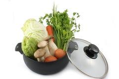 Légumes frais dans le pot d'isolement sur le backgroud blanc Photos libres de droits