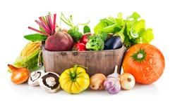 Légumes frais dans le seau en bois avec de la laitue de feuille Photo libre de droits