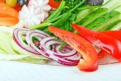 Légumes frais de coupure en salade Photographie stock libre de droits