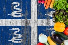 Légumes frais de la Martinique sur la table Cuisson du concept sur le fond en bois de drapeau image stock