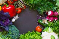 Légumes frais de ressort sur le tableau noir Images libres de droits