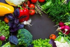 Légumes frais de ressort sur le tableau noir Photographie stock