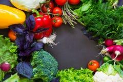 Légumes frais de ressort sur le tableau noir Images stock