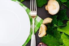 Légumes frais de ressort, verts et plat blanc vide avec l'endroit Photos libres de droits
