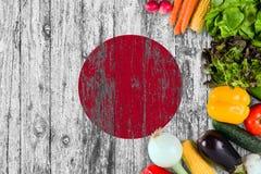 L?gumes frais du Japon sur la table Cuisson du concept sur le fond en bois de drapeau image stock