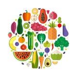 Légumes frais et fruits illustration stock
