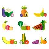 Légumes frais et fruits illustration de vecteur