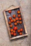 Légumes frais et herbes sur une texture rustique brûlée en bois pour Photos libres de droits