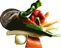 Légumes frais et sains colorés, vectorisés avec le fond transparent illustration stock
