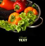 Légumes frais frais lavés dans un colande en métal Images libres de droits