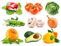 Légumes frais réglés avec les lames vertes Photos stock