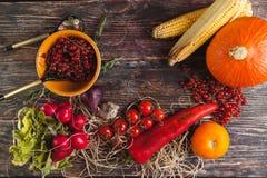 Légumes frais sur la table en bois en automne Images stock