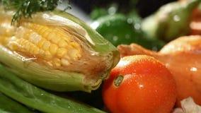 Légumes frais sur le marché banque de vidéos