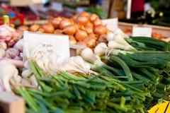 Légumes frais sur une stalle du marché Photographie stock libre de droits