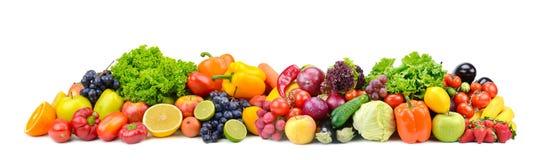 Légumes lumineux et fruits de panorama d'isolement sur le blanc Image stock