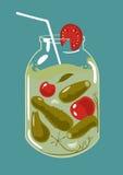 Légumes marinés dans le pot en verre Images libres de droits