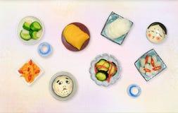 Légumes marinés japonais dans le ` japonais de tsukemono de `, vue supérieure Photographie stock libre de droits