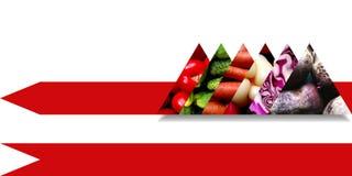 Légumes organiques à l'intérieur de six triangles abstraites illustration libre de droits