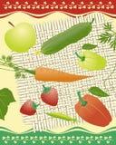 Légumes organiques, fruits, baies sur le tapis carré illustration de vecteur