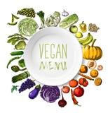Légumes peints à la main, fruits Photo libre de droits