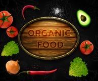 Légumes réalistes de vecteur avec le logo de concept pour la boutique organique sur le fond noir Photos libres de droits