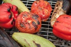 Légumes, tomates, courgette et aubergines fortement rôtis photographie stock