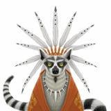 Lémur serio divertido del jefe indio Imágenes de archivo libres de regalías