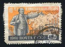 Lénine et carte montrant l'électrification Photographie stock libre de droits
