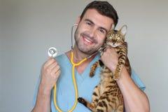 Léopard de examen de vétérinaire regardant le chat images libres de droits