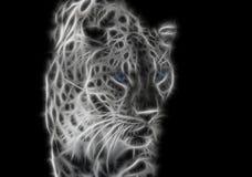léopard sauvage de fractale blanc noir avec des yeux bleus photographie stock libre de droits