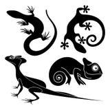 Lézard décoratif tribal réglé de vecteur illustration de vecteur