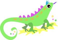 Lézard vert avec la langue pourprée illustration de vecteur