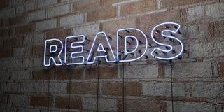LÊ - Sinal de néon de incandescência na parede da alvenaria - 3D rendeu a ilustração conservada em estoque livre dos direitos Imagem de Stock Royalty Free