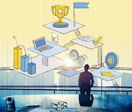 Líder Aspiration Strategy Concept del hombre de negocios Imágenes de archivo libres de regalías