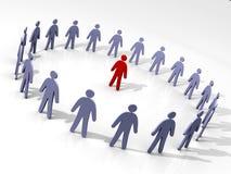 Líder cercado por seus homens. ilustração stock