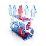 Líder creciente Red Glass Arrow del éxito stock de ilustración