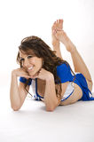Líder da claque com equipamento azul Imagem de Stock Royalty Free