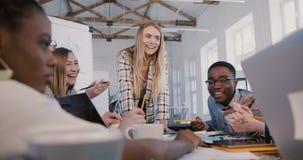 Líder da equipe fêmea atrativo bem sucedido novo que trabalha junto com empregados multi-étnicos criativos na reunião do escr vídeos de arquivo