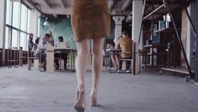 Líder de equipo rubio de sexo femenino que camina a través de oficina y del trabajo de los controles del empleado La hembra mira  metrajes