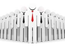 Líder de negócio individual no grupo do fluxo da equipe Fotos de Stock