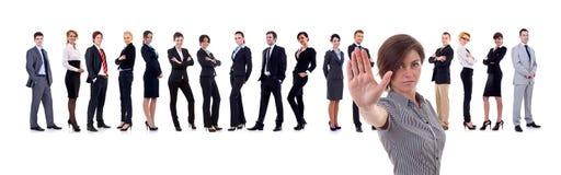 Líder de negócio que faz um gesto do batente Fotografia de Stock
