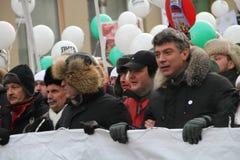 Líder de oposición Boris Nemtsov en el marzo para Fotografía de archivo