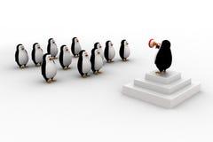 líder del pingüino 3d pronunciar discurso al grupo de concepto de los pingüinos Imagen de archivo libre de regalías